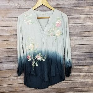 Soft Surrounding Blue Ombre 3/4 Sleeve Embroidered